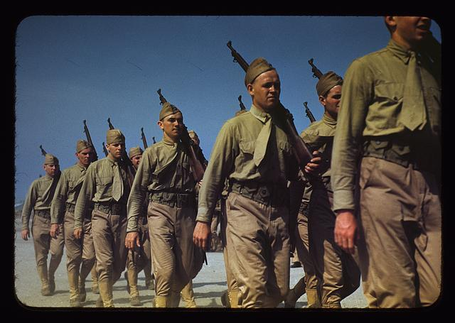 18. Marines finishing training at Parris Island, South Carolina.