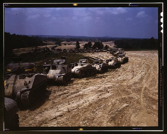20. A parade of M-4 (General Sherman and M-3 (General Grant) tanks in training maneuvers, Fort Knox, Kentucky.