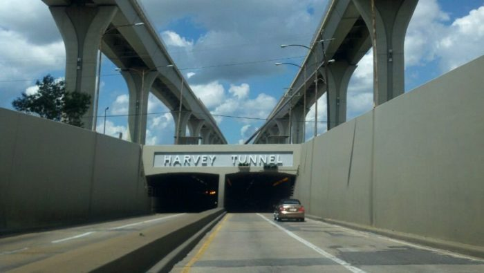 The Harvey Tunnel is found in Jefferson Parish, on the Westbank of the Mississippi River and is trafficked by commuters in the greater New Orleans area.