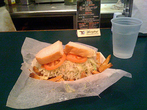 2. Put fries on our sandwiches…