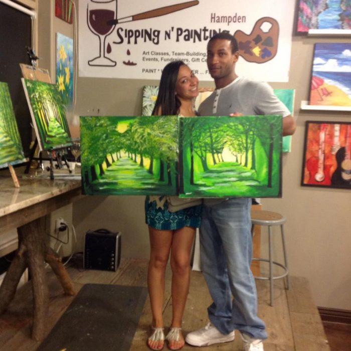 2. Toast your date at Sipping 'N Painting.