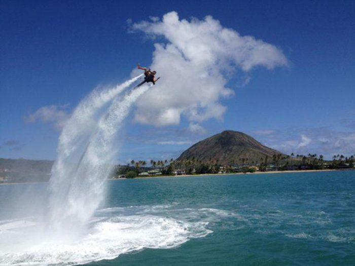 2. Fly up to 30 feet in the air with Jetlev, a water-powered jet pack.