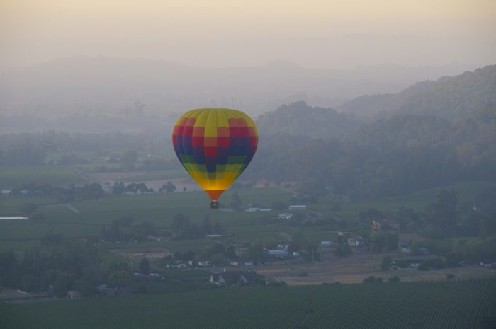 8. Head on up to Napa, then straight up into the air for an early-morning, champagne-toasting hot air balloon ride.