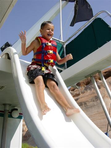 16. View Lake Powell from the top of the slippery slide on your houseboat...