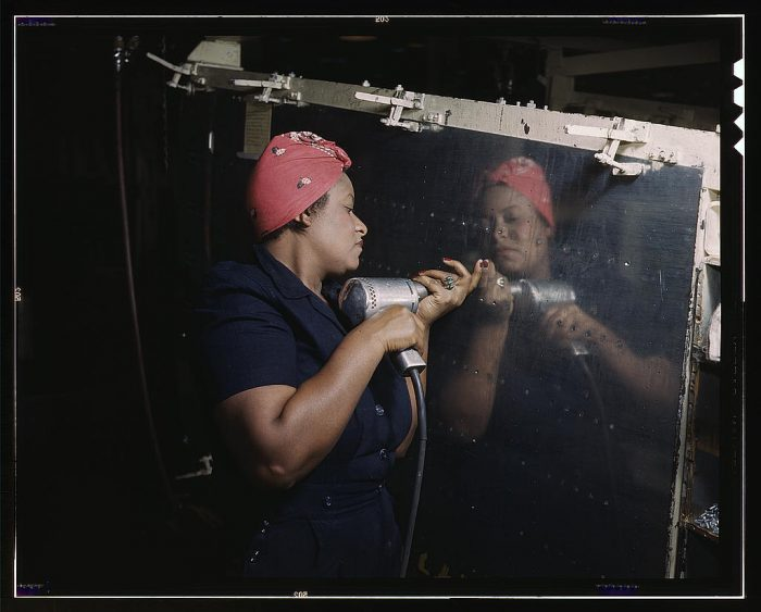 """1. A woman working on a """"Vengeance"""" dive bomber near Nashville, Tennessee."""