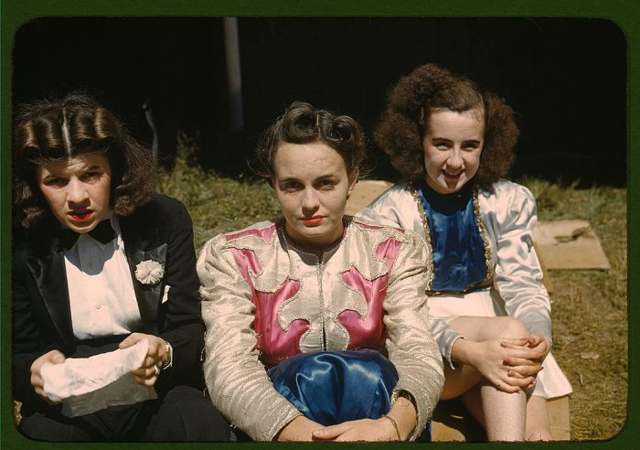 """3. Backstage at the """"girlie"""" show at the Vermont state fair in Rutland."""