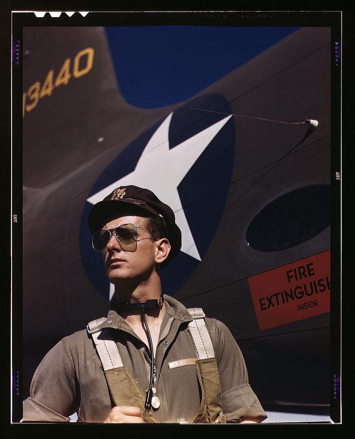 9. F.W. Hunter, army test pilot at the Douglas Aircraft Company plant at Long Beach, California.