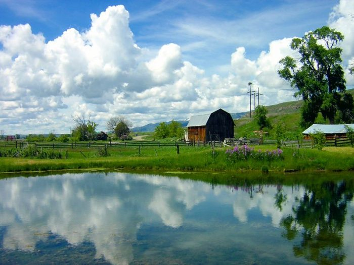 11. The reflection of the sky in the water adds an extra layer of beauty and color to this quaint rural farm.
