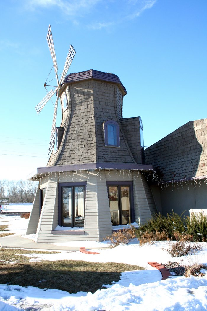 4. This sweet wooden windmill was once located in rural Nebraska. It's now in Fremont and serves as the Wooden Windmill Restaurant.