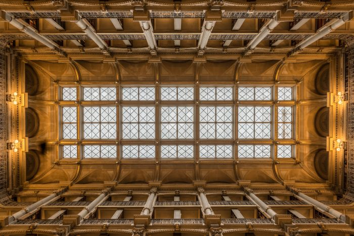 These days, people come to take in the views of the stunning architecture. This is a photo of the ceiling, which is just as intricately designed as the rest of the building.