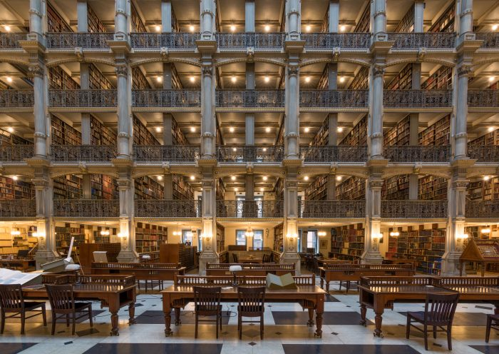 Funded by wealthy Baltimorean George Peabody, this luxurious library was built in 1878 for the Peabody Conservatory of Music.
