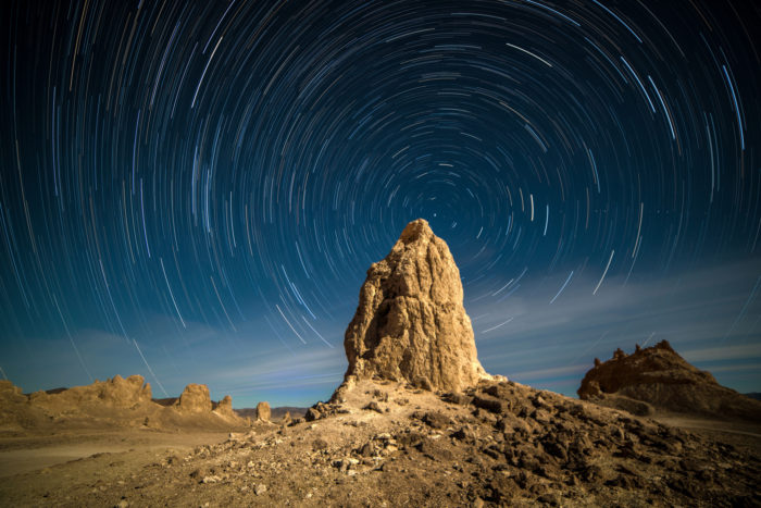 3. The Trona Pinnacles under a full moon is an enchanting place to view the sky at night.