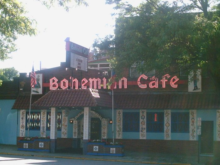"""The vibrant building displays the type of styling that you'll find in the real Bohemia. The owners always liked to call the café """"Omaha's European Connection."""""""