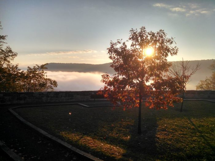 3. Sit on a bench or stand on the edge of the Ridenour Overlook for a bird's eye view of Raystown Lake in Huntingdon.