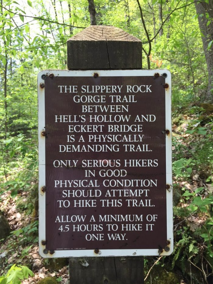 A sign welcomes you to Slippery Rock Gorge Trail. Heed the advice/warnings on the trail sign for a fun and a safe experience.