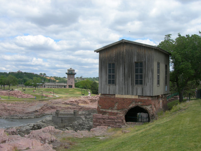 4. The old Power House, perched in a practically unreachable place above a mysterious-looking basement, by Sioux Falls