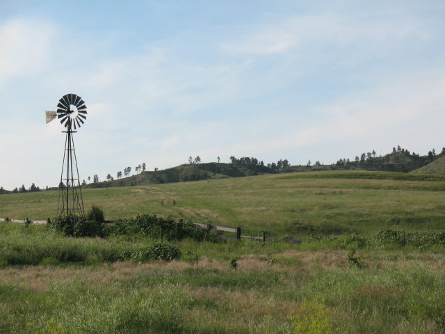 8. What a very Nebraska image: rolling green hills with a solitary windmill.