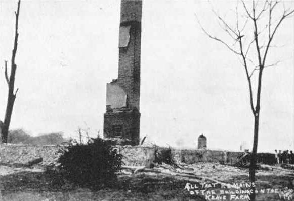 And here's after, with only the chimney standing. The explosion at his home also resulted in the murder of Kahoe's wife.
