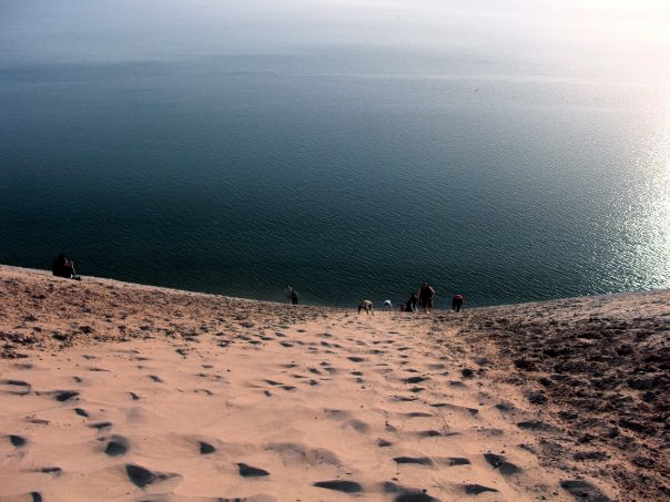 This bluff rises more than 400 feet above Lake Michigan's sugary shoreline.