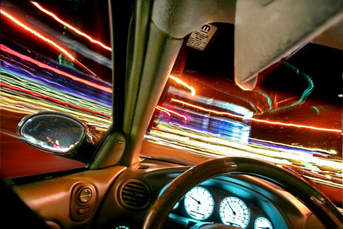 7. Drag racing down abandoned city streets at night makes for a Fast and Furious feeling in this photo.