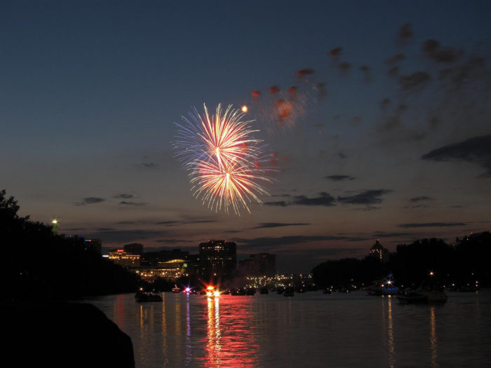 4. Mortensen Riverfront Plaza (Hartford) hosts fireworks July 9 at 10pm.