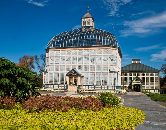 The splashes of color throughout the gardens paired with the remarkable conservatory is a beautiful sight.