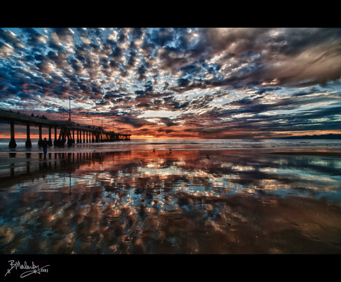 9. An enchanting moment at sunset while strolling along Venice Pier. The sky is almost unreal.
