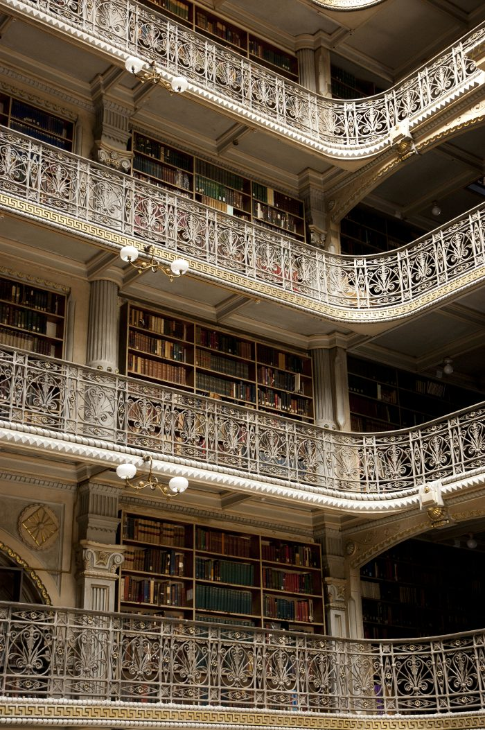 The George Peabody Library has also caught the eye of Hollywood filmmakers. Several movies have been filmed here, including Washington Square and Sleepless in Seattle.