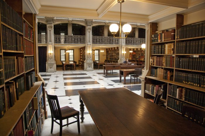 It was - and still is - open to the public, per the wishes of George Peabody.  He dreamed of a space where the residents of Baltimore could come to learn, and enjoy the inspiring atmosphere.