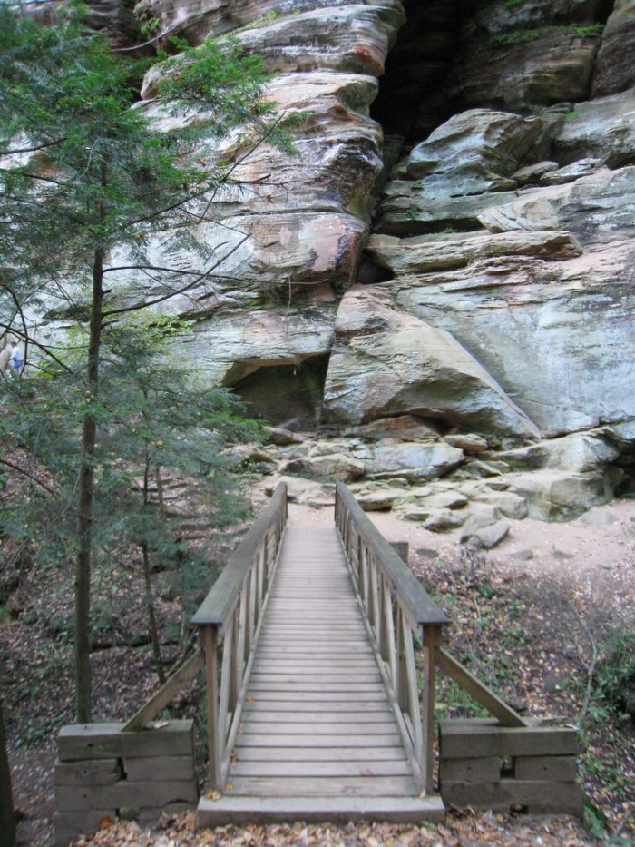 After you make your way down the hill, you'll find a bridge leading to the Rock House.