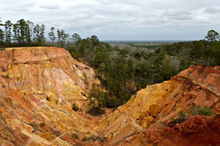 The geologic formation has been created by the natural erosion of the nearby Pearl River.