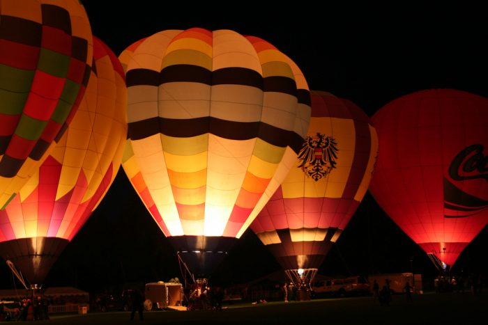 12. The highlight of the Sprit of Boise Balloon Classic is the glowing balloons in the park.