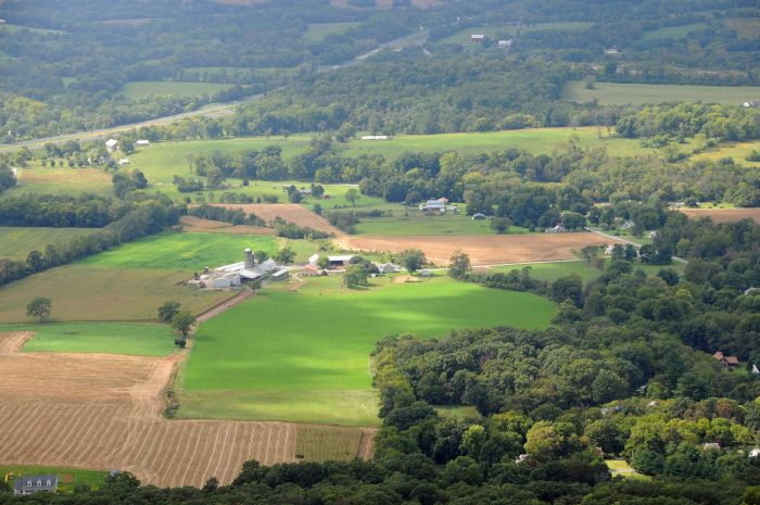 7. A calming aerial view of farmland from Black Rock Cliffs in Annapolis.