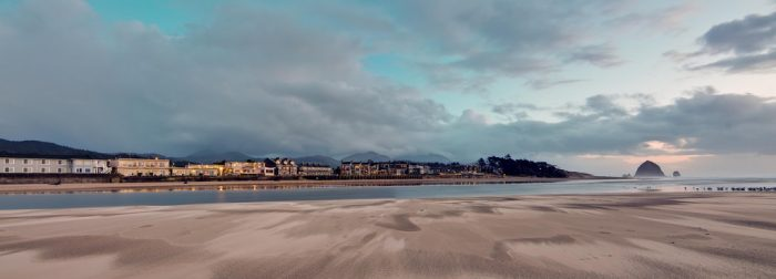 A gorgeous panoramic view of the town and beach.