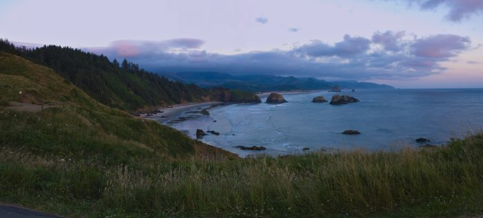A view of Cannon Beach from Ecola Point.
