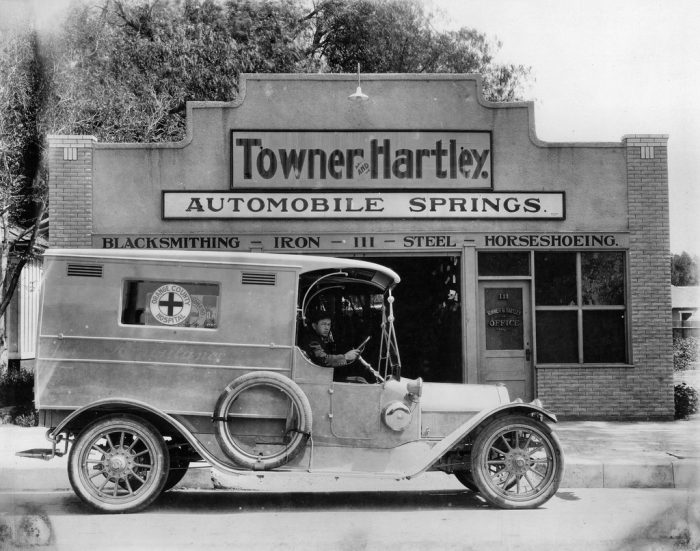 3. Look at this old ambulance in Orange County stopped in front of the Towner and Hartley building. The date is unknown -- any guesses?