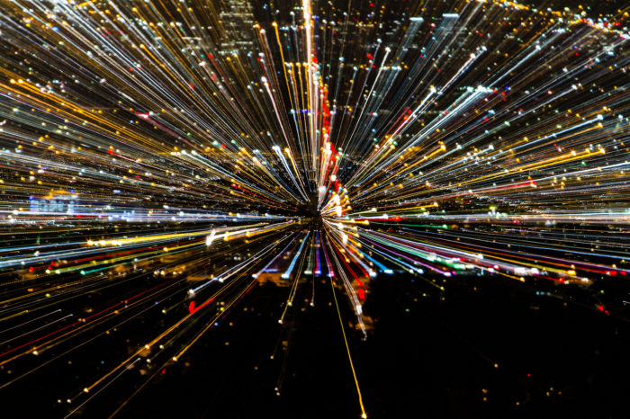 9. This burst of light looks a little bit like a scene from Star Wars. But what you're actually seeing are the lights of Los Angeles bursting with color across the sky.