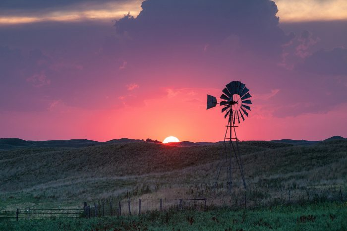 17. This sunset shot just outside of Valentine creates a silhouette of a tall windmill.