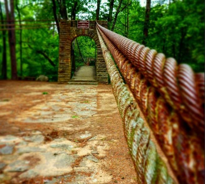 The Bear Creek Outcropping Trail is by far one of the most popular. The 3.5-mile loop trail begins at the park's famous swinging bridge and is rated as moderate on the difficulty scale, but the breathtaking scenery, which includes a waterfall, makes it well worth the extra effort.