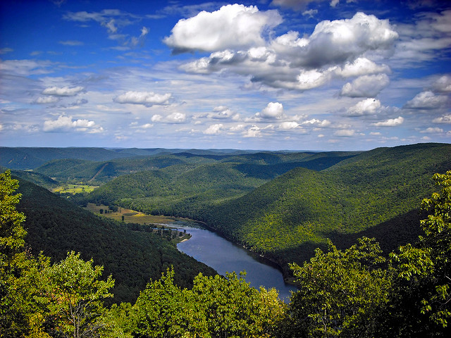 8.  Stand nearly 2,080 feet above ground level at Kettle Creek State Park's vista for an uninterrupted view of the mountains and valleys of Clinton County.