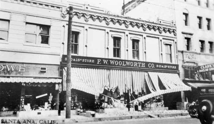 7. Another shot of the 1933 earthquake damage in Orange County. In addition to the damage, it's hard not to notice the price of items at F.W. Woolworth Co. at 5, 10, and 15 cents. Wow!