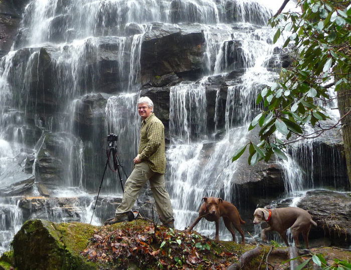 14. Setting up for the perfect professional photo of Yellow Branch Falls in South Carolina's beautiful upstate.