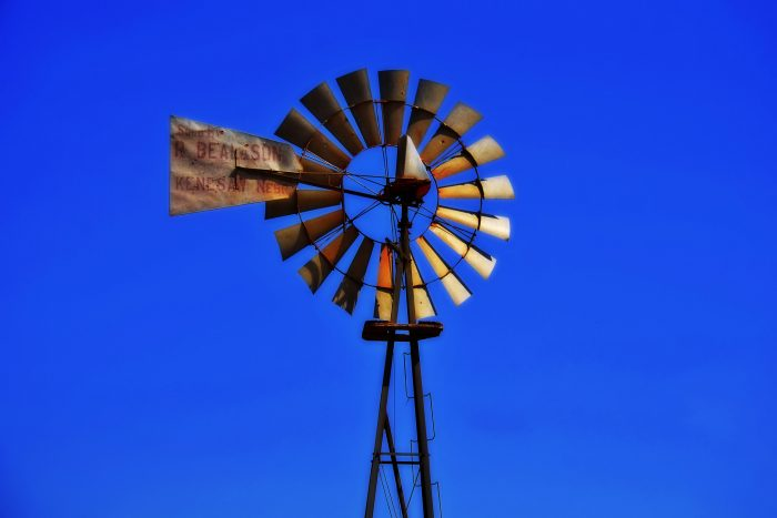 21. A vibrant blue sky sits behind this Nebraska-built windmill from R. Bean & Son in Kenesaw.