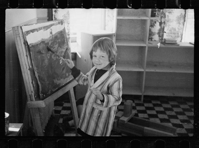 14. A young artist at a community kindergarten in Radburn, New Jersey.