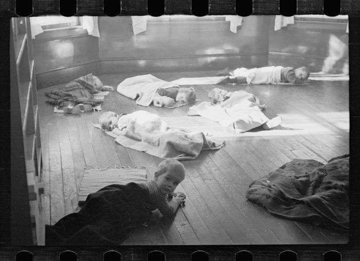 15. Taking naps at a community kindergarten in Radburn, New Jersey.