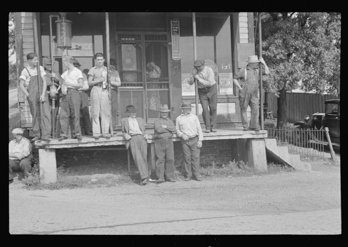 13. Prospective homesteaders in front of a post office at United, Westmoreland County, Pennsylvania.