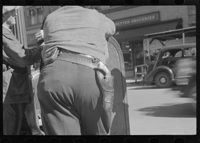 3. A deputy with a gun on his hip during the September 1935 strike in Morgantown, West Virginia.