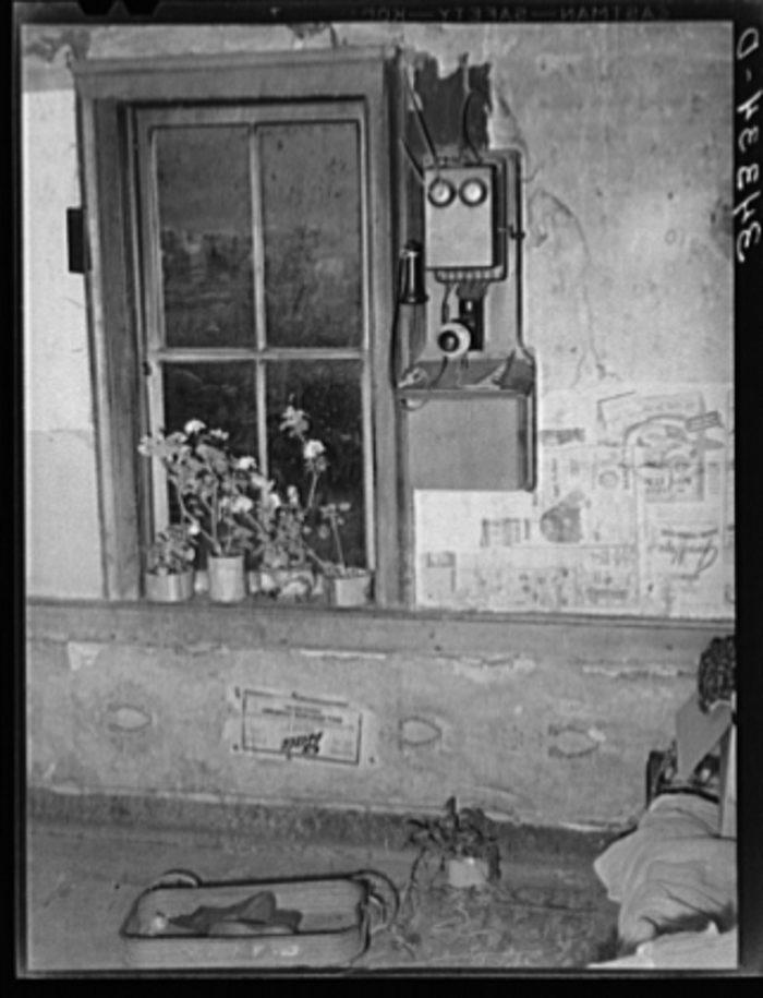 10.  Telephone by window in farm home of FSA (Farm Security Administration) client near Bradford.