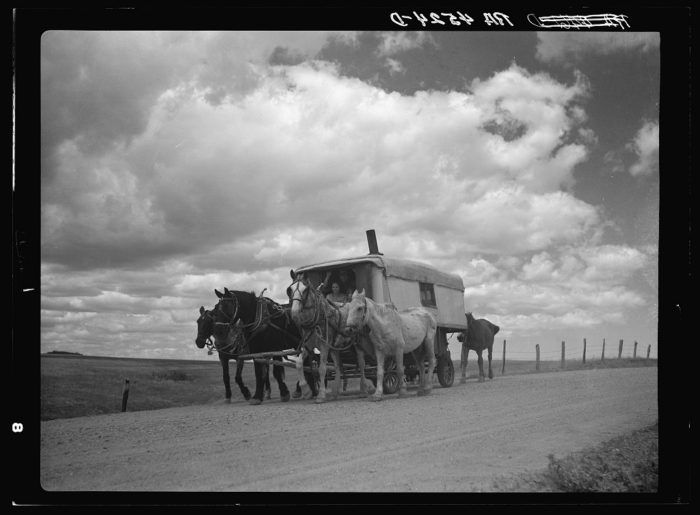 6. This literal mobile home was the only shelter this family had. They were on their way west in search of better work, struggling from the Great Depression. 1936