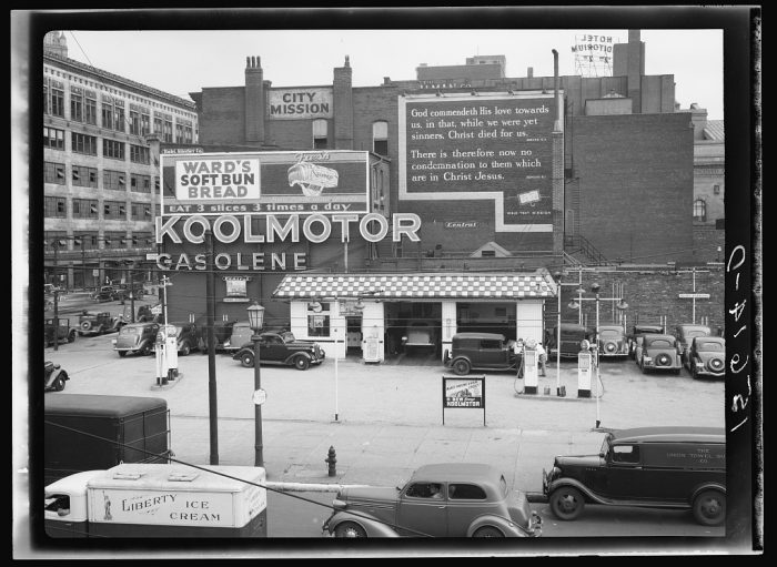18. A gas station and gospel mission in Cleveland.